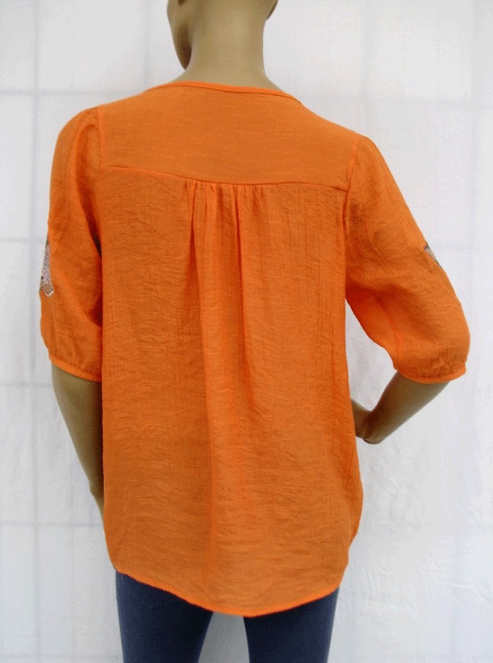 Short sleeve embroidered embroidery tunic shirt top blouse