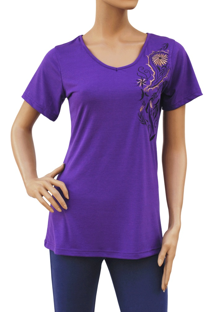 Embroidered embroidery front back stretch t shirt top