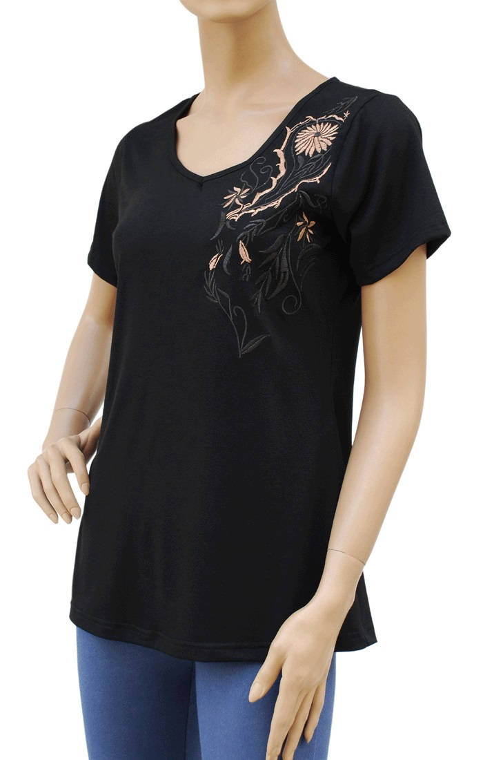 Embroidered embroidery front back stretch t shirt top for How to embroider t shirts