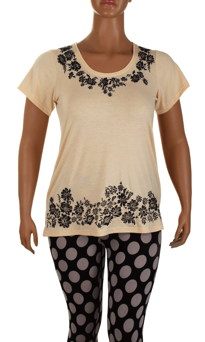 Floral embroidered embroidery stretch tunic t shirt top