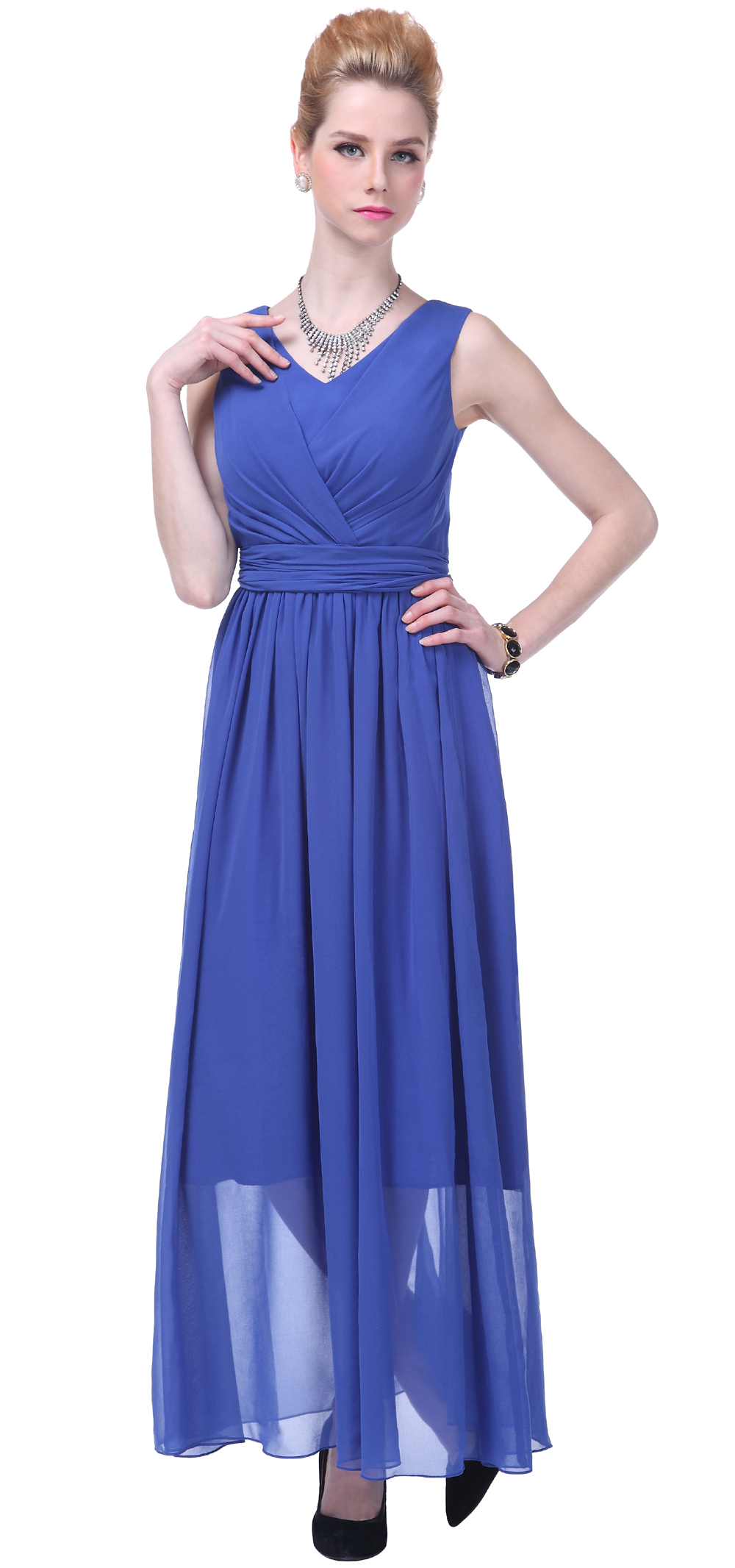 Formal dress women long evening gown v neck bridesmaid for Evening gown as wedding dress