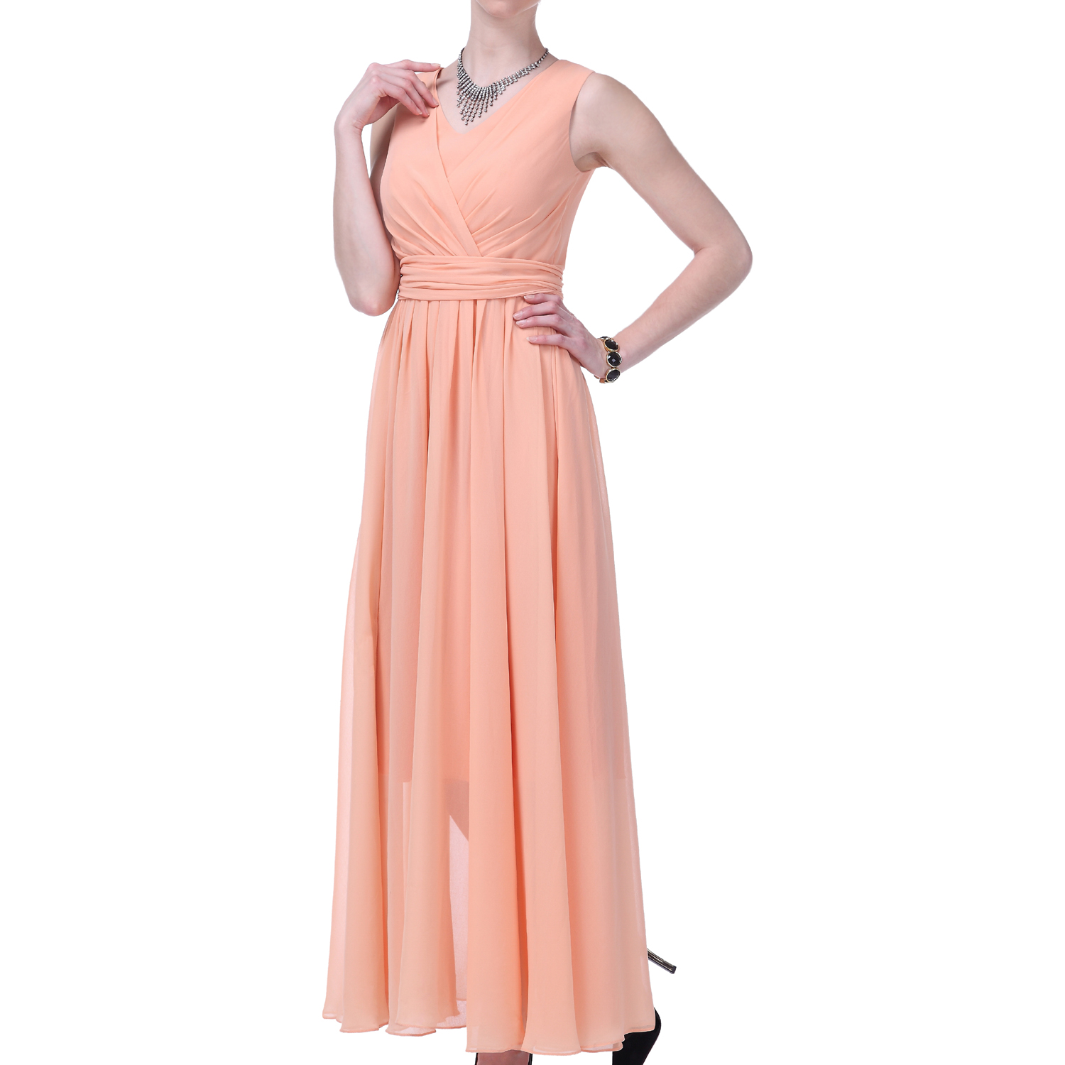 Formal Dress Women Long Evening Gown V Neck Bridesmaid