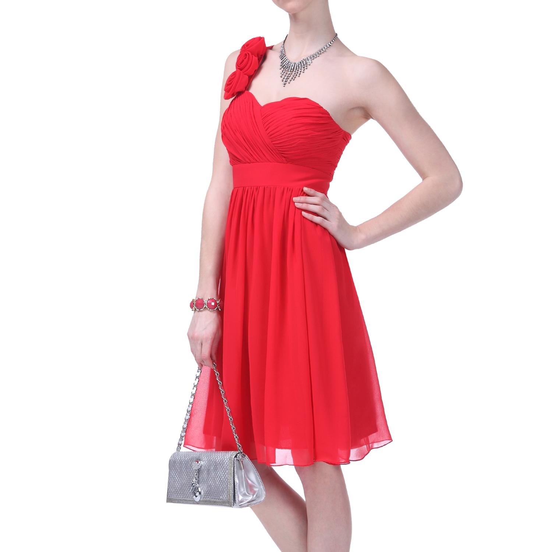 Formal Dress Elegant One Shoulder Ruched Flower Bridesmaid