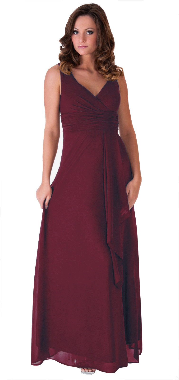 formal dress bridesmaid wedding party v neck full length With long gown for wedding