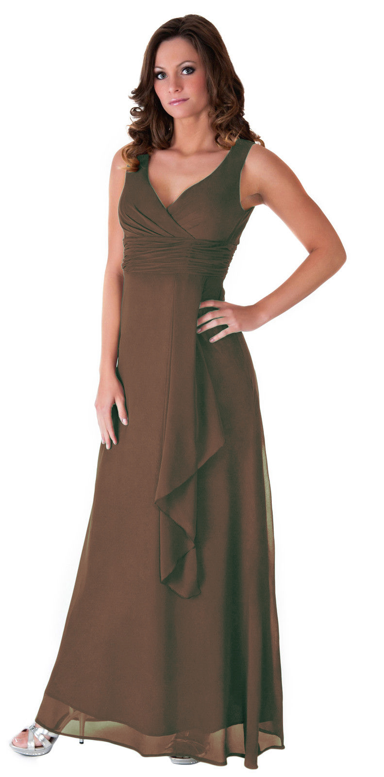 Formal dress bridesmaid wedding party v neck full length for Evening gown as wedding dress