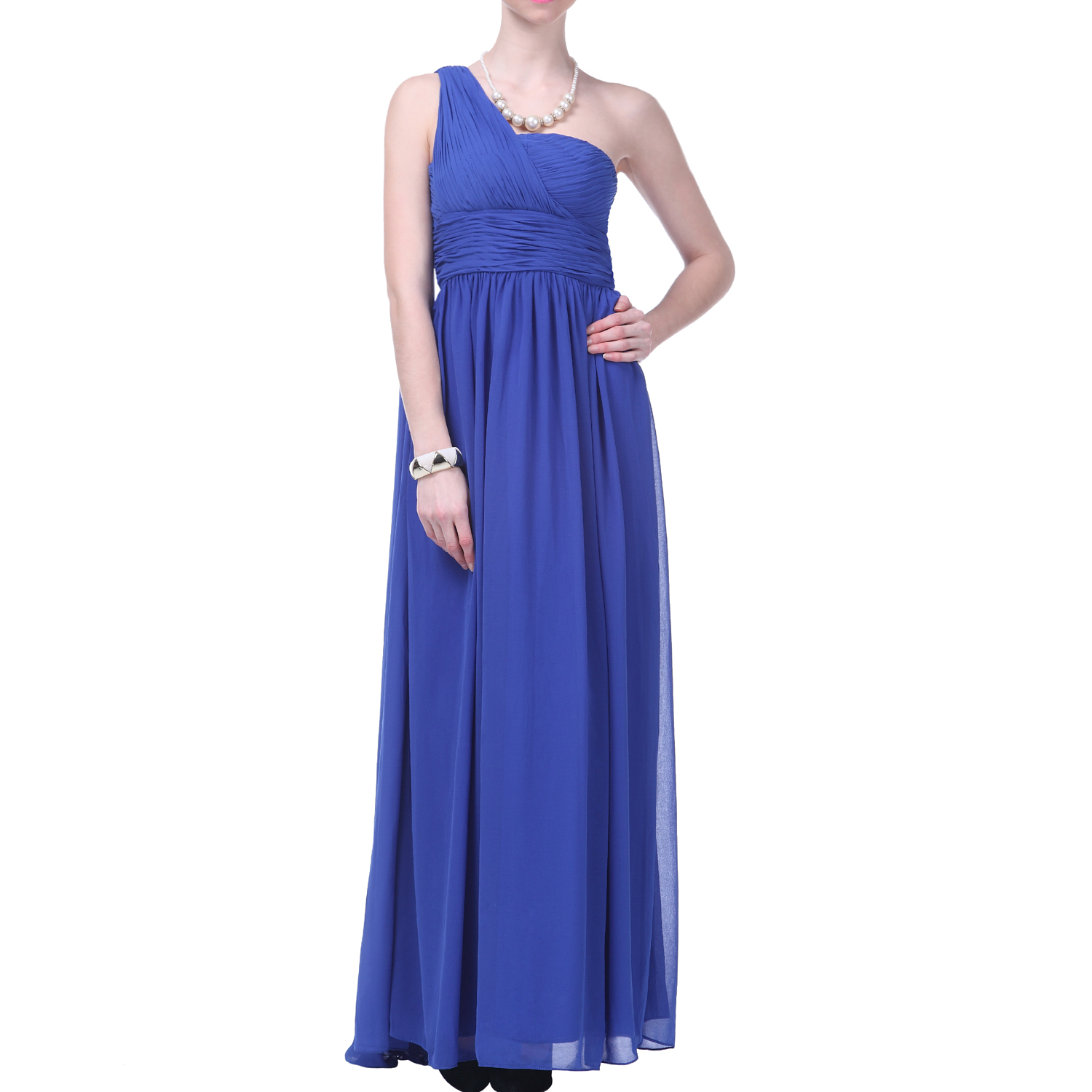 Formal Dress One Shoulder Draped Bridesmaid Wedding Party Prom Long ...