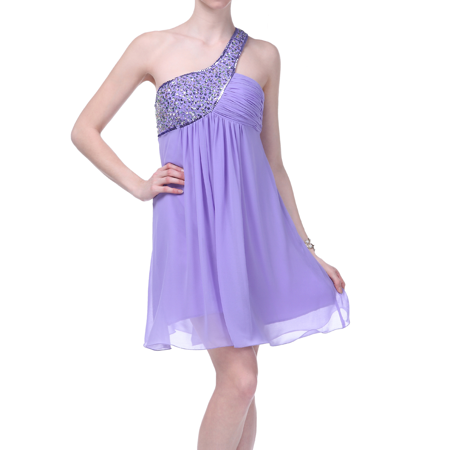 Formal Dress One Shoulder Evening Gown Beaded Bridesmaid Wedding ...
