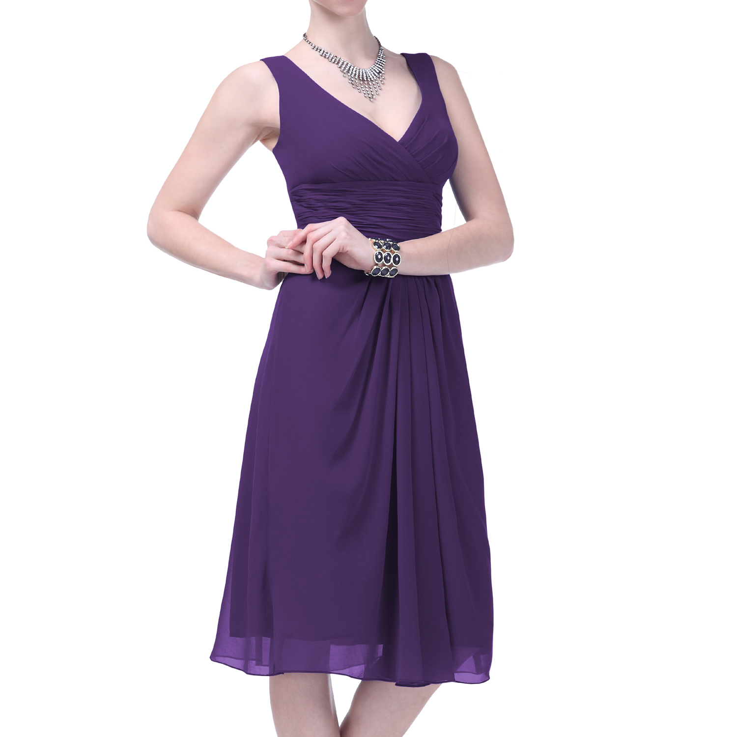 Formal Dress V-neck Elegant Evening Gown Bridesmaid Wedding Party ...