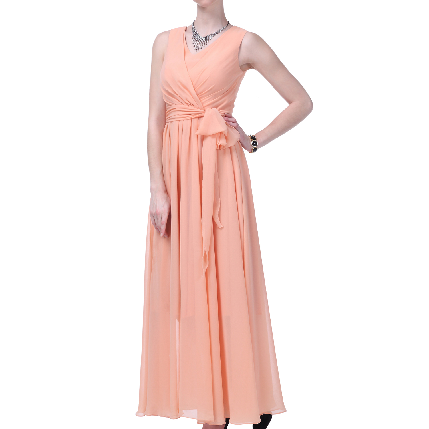 Formal Dress Women Long Evening Gown V-neck Bridesmaid Wedding Party ...