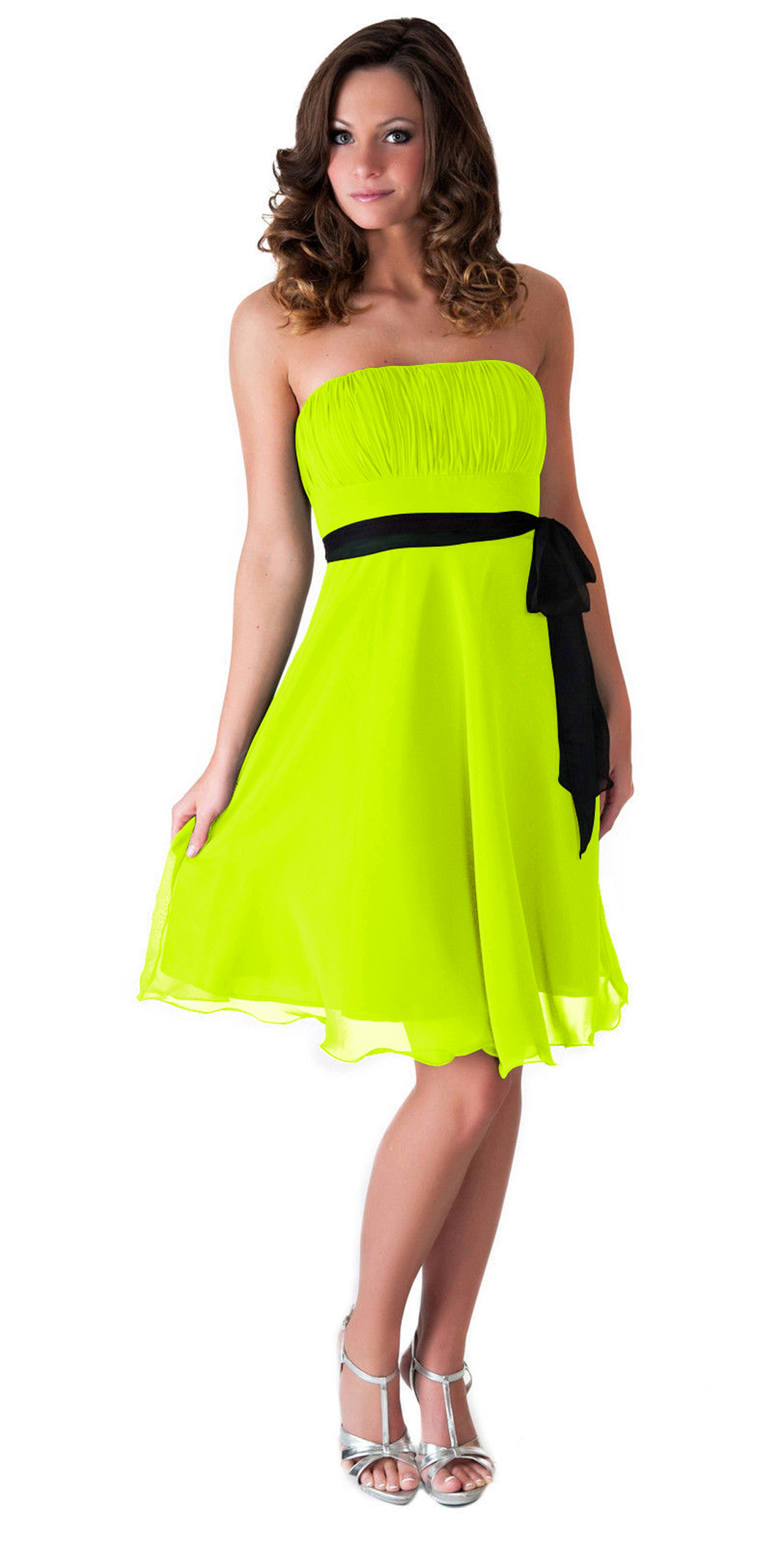 Yellow neon prom dress